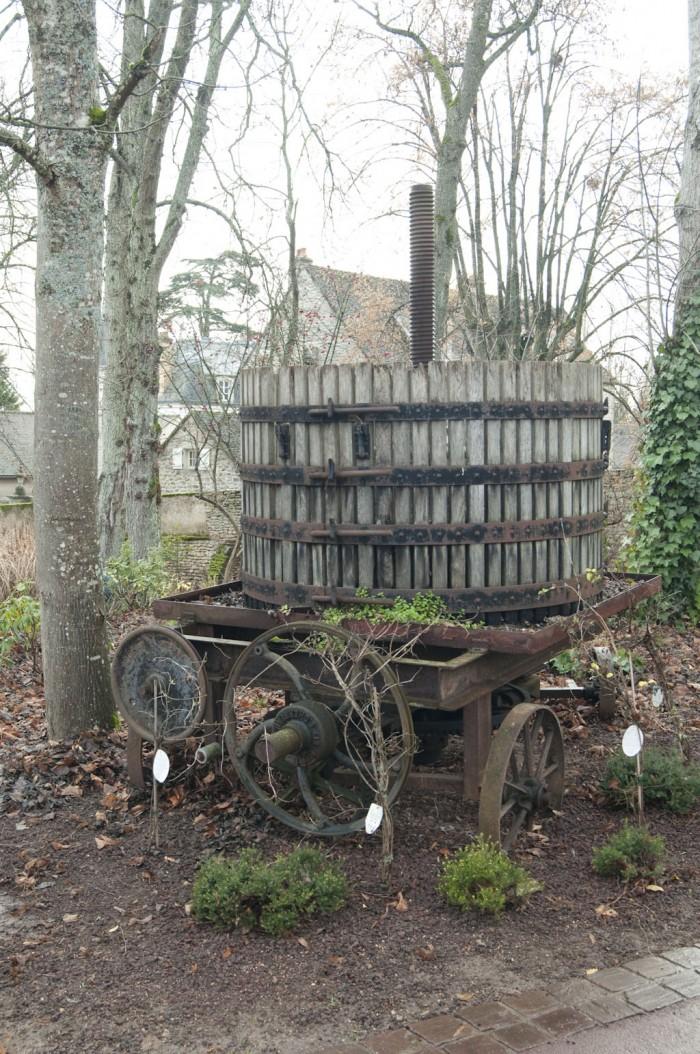 敷地内はワイン造りにかかわるものがそこかしこにある。これは古いプレス機