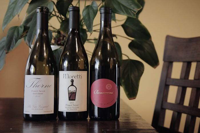 ワイン3種。全てサンタ・リタ・ヒルズ産ピノ・ノワール